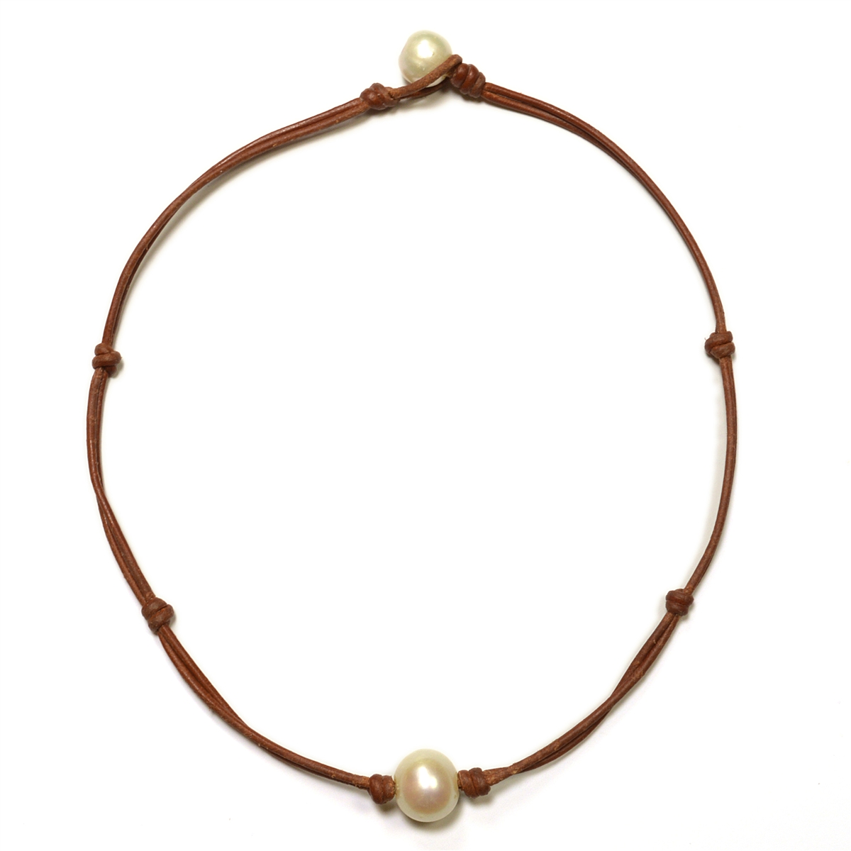 Fine Pearls And Leather Jewelry By Designer Wendy Mignot Zak Freshwater  Necklace With Knots White