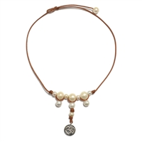 Fine Pearls and Leather Jewelry by Designer Wendy Mignot Lotus Necklace