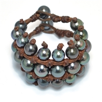 Fine Pearls and Leather Jewelry by Designer Wendy Mignot Midnight Three Level Tahitian Bracelet