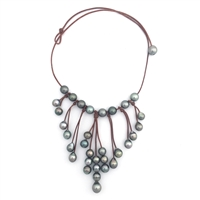 Fine Pearls and Leather Jewelry by Designer Wendy Mignot Bohemian Tahitian Necklace