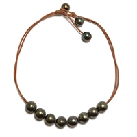 Fine Pearls and Leather Jewelry by Designer Wendy Mignot Violet Versatile Eight Tahitian Necklace