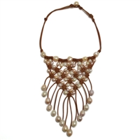 Fine Pearls and Leather Jewelry by Designer Wendy Mignot Queenie Freshwater Necklace