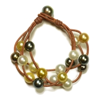 Fine Pearls and Leather Jewelry by Designer Wendy Mignot Music Four Strand Tahitian Mixed Bracelet