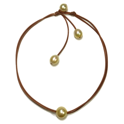 Fine Pearls and Leather Jewelry by Designer Wendy Mignot Signature South Sea Gold Necklace