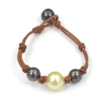 Fine Pearls and Leather Jewelry by Designer Wendy Mignot Three Pearl Tahitian 2, South Sea Gold Bracelet