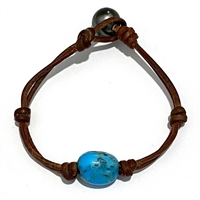 Fine Pearls and Leather Jewelry by Designer Wendy Mignot Turquoise Single Gem Bracelet with Tahitian Pearl Clasp