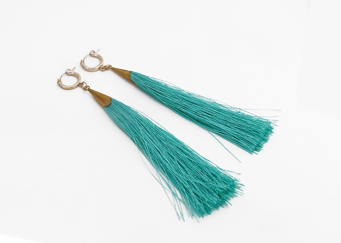 Custom Hoop Turquoise Silk Tassel Earrings