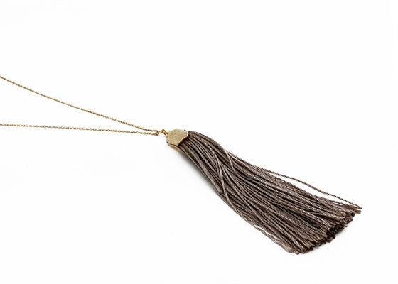 Custom Taupe Silk Tassel Necklace