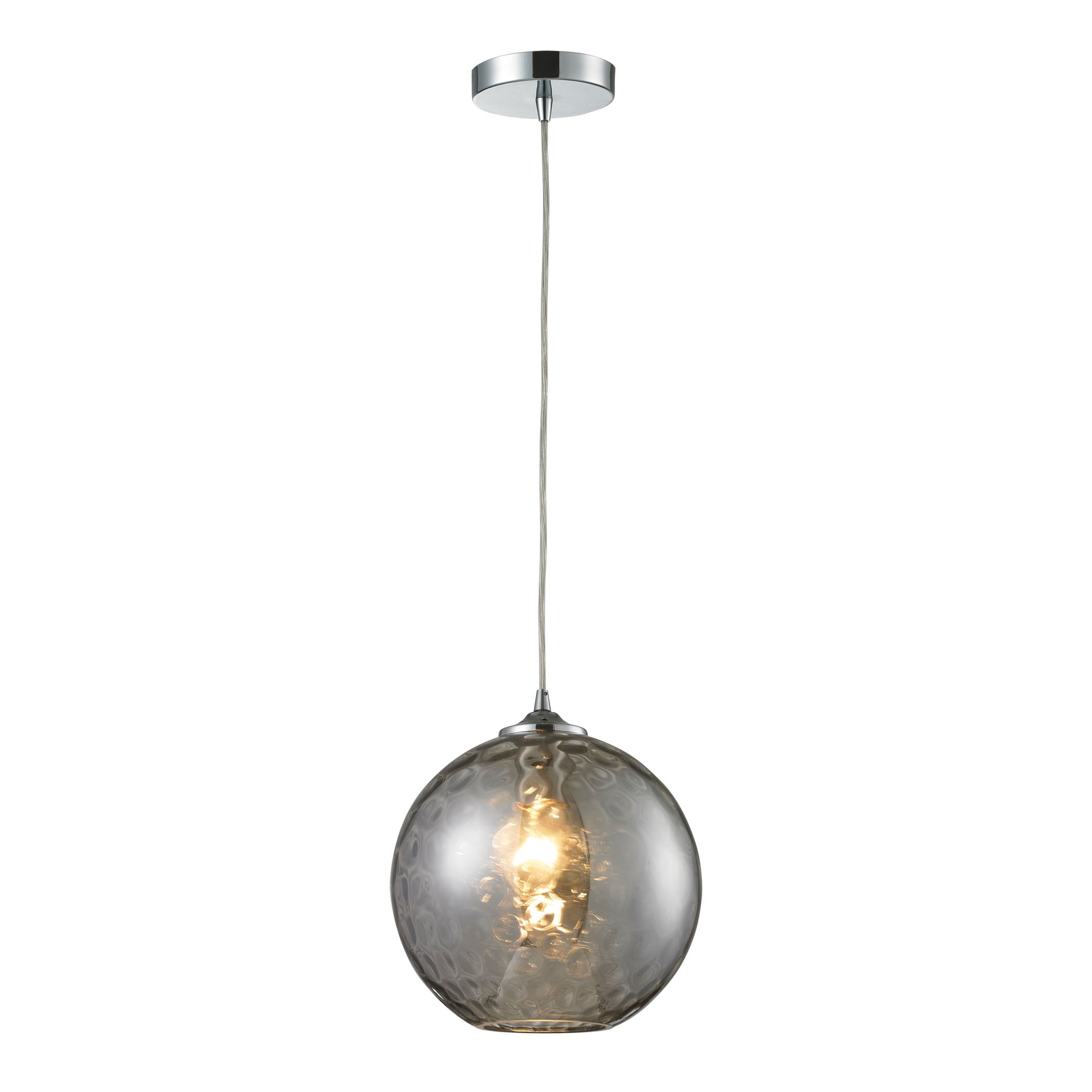 elk watersphere 1 light pendant in polished chrome and smoke