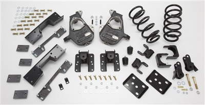 "34035 2007-2013 S-Cab Silverado 4/6"" Lowering Kit w/ C-NOTCH,SPINDLES,COILS,REAR HANGERS,SHORT SHACKLE,FLIP,B.S"