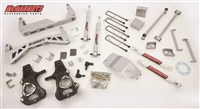 "McGaughys 2014+ GM 1/2 Ton Truck (2WD) 7"" Lift Kit (silver powder coat) W/ ADJUSTABLE FRONT STRUTS & REAR SHOCKS, Kit 50768"