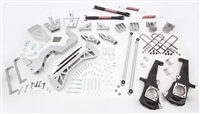 "2011-15 GM 3500 NO Dually, (2WD, GAS MOTOR) 7"" Lift Kit (silver powder-coat) w/ front & rear shocks"