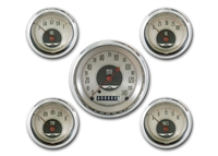 "All American Nickel 5 GAUGE SET   (3 3/8"" SPEEDO & 4- 2 1/8"" GAUGES fuel 240-33ohm)"