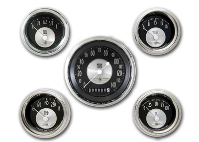 "All American Tradition 5 GAUGE SET (3 3/8"" SPEEDO & 4- 2 1/8"" GAUGES fuel 240-33ohm)"