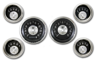 "All American Tradition 6 GAUGE SET (3 3/8"""" SPEEDO, TACH, 4- 2 1/8"" GAUGES fuel 240-33ohm)"
