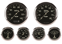 "Classic Series Six Gauge Set 4 5/8"" Speedo & Tach, 2 5/8"" Fuel, Oil, Temp, & Volt"