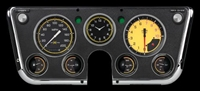 "AUTOCROSS YELLOW 7-GA 5"" SPEEDO, TACH, 4- 2 1/8"" GAUGES (fuel 0-90ohm), 3 3/8"" CLOCK"