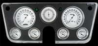 "CLASSIC WHITE 7-GA 5"" SPEEDO, TACH, 4- 2 1/8"" GAUGES (fuel 0-90ohm), 3 3/8"" CLOCK"