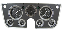 "HOT ROD 7-GA 5"" SPEEDO, TACH, 4- 2 1/8"" GAUGES fuel 0-90ohm), 3 3/8"" CLOCK"