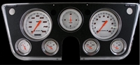 "Classic Instruments 1967-72 Chevy Truck Package Velocity Series White 4 5/8"" Speedometer, 3 3/8"" Clock, 2 1/8"" Fuel (0-90 OHM), Oil, Temp, and Volt.  Blue LED high beam indicator installed in speedometer"