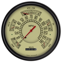 1966-77 Tan Bronco Six-Instrument (Speedometer, Tachometer, Fuel [75-10 ohm], Temperature, Voltage, and Oil) Package.