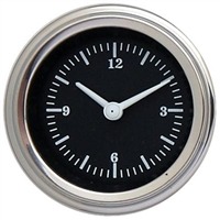 "Classic Instruments Hot Rod 2 1/8"" Clock Gauge with Stainless Low Step Bezel Flat Glass Lens"