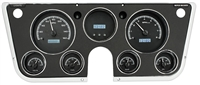 Dakota Digital 67 - 72 Chevy Pickup Truck Analog Dash Gauge & Clock Silver Alloy Blue VHX-67C-PA-S-B