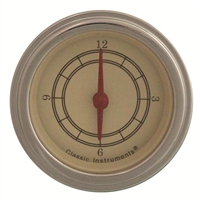 classic instruments vintage series clock tan face biege face red needles stainless bezel flat glass