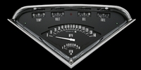 classic instruments tach force 1955 1956 1957 1958 1959 chevy truck gauge package black face with white needles and letters.