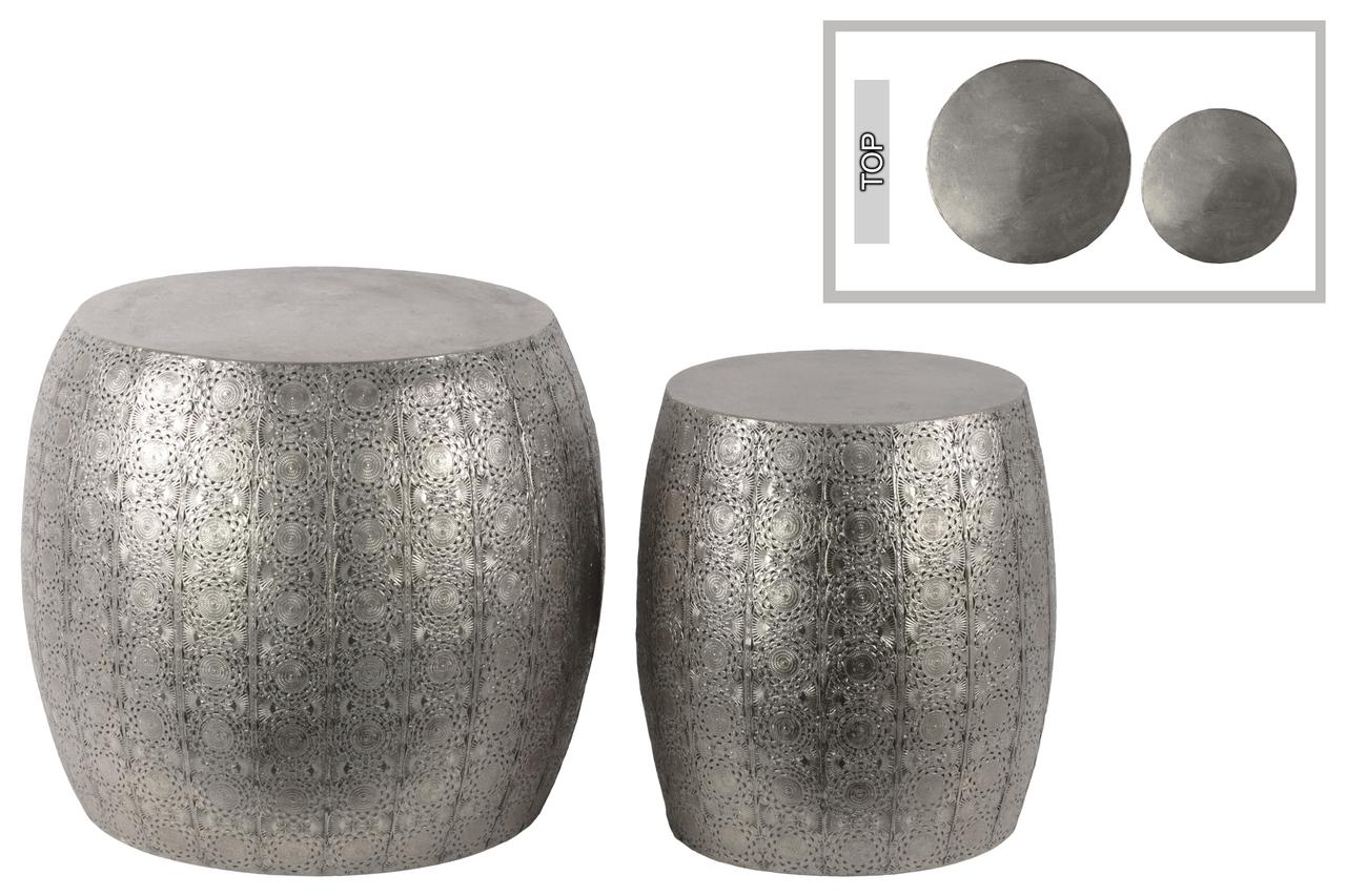 Metal Round Table With Embossed Floral Design Set Of Two Metallic Finish  Silver