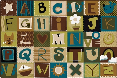 Toddler Alphabet Blocks Rug - Nature - CFK117XX - Carpets for Kids