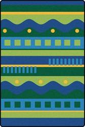 Silly Stripes Toddler Rug - Blue - Rectangle - 6' x 9' - CFK3200 - Carpets for Kids
