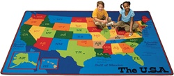 "Travelin the USA Rug - Rectangle - 7'8"" x 10'10"" - CFK3417 - Carpets for Kids"