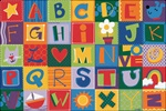 Toddler Alphabet Blocks Rug - Rectangle - 8' x 12' - CFK3802 - Carpets for Kids