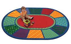 "Playful Patterns Infant Rug - Oval - 3'10"" x 5'5"" - CFK3903 - Carpets for Kids"