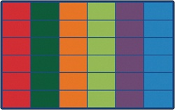 "Colorful Rows Seating Rug (Seats 36) - Rectangle - 8'4"" x 13'4"" - CFK4634 - Carpets for Kids"