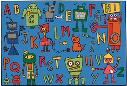 Reading Robots Rug - Rectangle - 4' x 6' - CFK4879 - Carpets for Kids