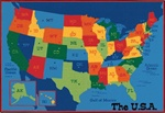 USA Map Value Rug - Rectangle - 4' x 6' - CFK4895 - Carpets for Kids