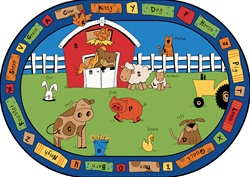 "Alphabet Farm Rug - Oval - 5'5"" x 7'8"" - CFK5205 - Carpets for Kids"