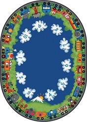 "Choo-Choo Literacy Rug - Oval - 8'3"" x 11'8"" - CFK6008 - Carpets for Kids"