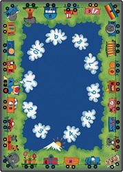"Choo-Choo Literacy Rug - Rectangle - 8'4"" x 11'8"" - CFK6012 - Carpets for Kids"