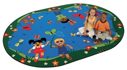 "Chasing Butterflies Alphabet Rug - Oval - 5'5"" x 7'8"" - CFK6715 - Carpets for Kids"