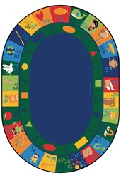 "Bible Blocks Learning Rug - Oval - 8'3"" x 11'8"" - CFK76008 - Carpets for Kids"