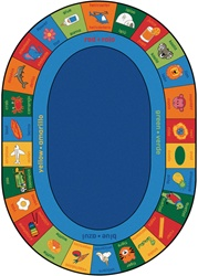 "Bilingual Alphabet Blocks Rug - Oval - 8'3"" x 11'8"" - CFK8008 - Carpets for Kids"