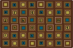 Literacy Squares Rug Factory Second - Rectangle - 4' x 6' - CFKFS14724 - Carpets for Kids