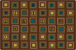 Literacy Squares Rug Factory Second - Rectangle - 8' x 12' - CFKFS14728 - Carpets for Kids