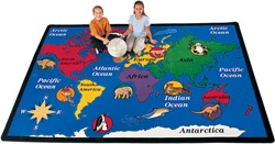 "World Explorer Rug Factory Second - Rectangle - 4'5"" x 5'10"" - CFKFS1501 - Carpets for Kids"