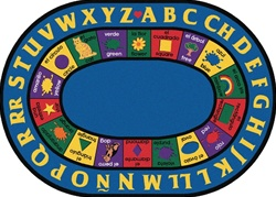 "Bilingual Rug Factory Second - Oval - 6'9"" x 9'5"" - CFKFS1695 - Carpets for Kids"