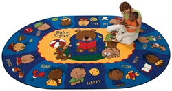 "Sign, Say & Play Rug Factory Second - Oval - 5'5"" x 7'8"" - CFKFS1705 - Carpets for Kids"