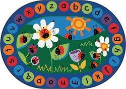 "Ladybug Circletime Rug Factory Second - Oval - 6'9"" x 9'5"" - CFKFS2006 - Carpets for Kids"